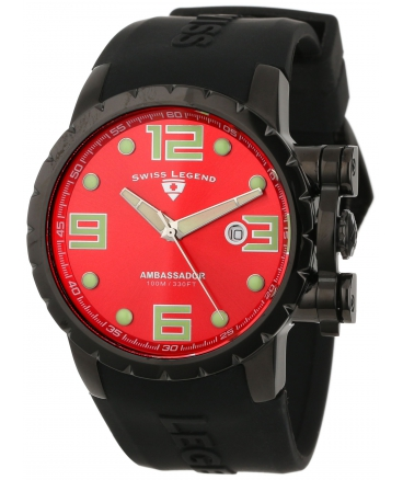 Swiss Legend Men's 30021-BB-05 Ambassador Red Dial Black Silicone Watch