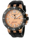Men's Challenger Rose Gold Tone Textured Dial Black Silicone Watch