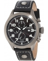"""Men's """"Specialty Collection"""" Stainless Steel Watch with Black Faux Leather Band"""