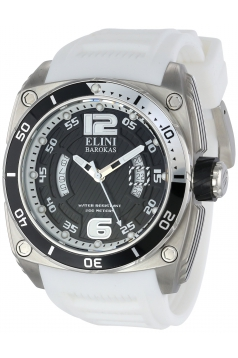 Elini Barokas Men's 10013-01-WSA Commander Analog Display Swiss Quartz White Watch