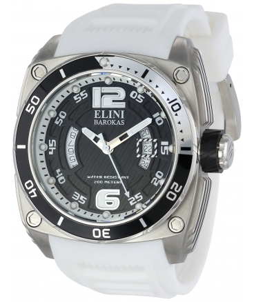 Elini Barokas Men's 10013-01-WSA Commander Analog Display Swiss Quartz White Watch