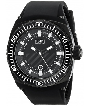 Elini Barokas Men's ELINI-12988-BB-01-WA Fortuna Analog Display Swiss Quartz Black Watch