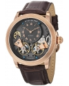 Men's Symphony Aristocrat Gemini II Automatic Skeleton Rose Tone Brown Leather Strap Watch