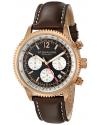Men's Monaco Quartz Chronograph Rose Gold Brown Leather Watch