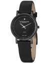 Women's Classic Ascot Castorra Elite Swiss Quartz Ultra Slim Genuine Diamond Black Watch