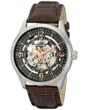 Men's Delphi Automatic Skeleton Grey Dial Brown Leather Watch