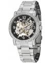 Women's Classic Delphi Canterbury Automatic Skeleton Swarovski Crystal Accented Black Dial Watch