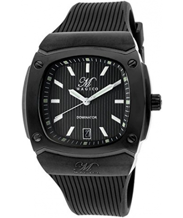 Men's Dominator Black Textured Dial Black Silicone