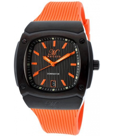 Magico Men's MAGICO-330-BB-01-ORG Dominator Orange/Black Orange Silicone Watch