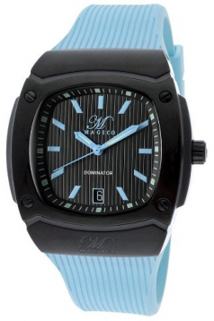 Men's Dominator Black Textured Dial Light Blue Silicone