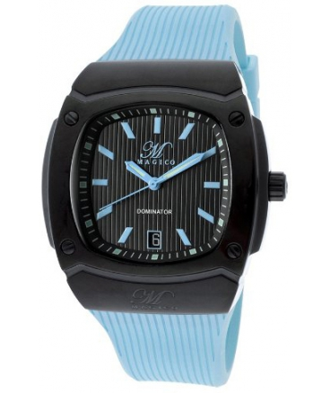 Magico Men's Dominator Black Textured Dial Light Blue Silicone
