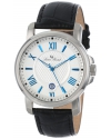 Men's Cilindro Silver Textured Dial Black Leather Watch