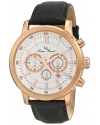 Men's Monte Viso Chronograph White Textured Dial Dark Black Leather Watch