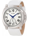 Women's Pyar Silver Textured Dial White Leather Watch