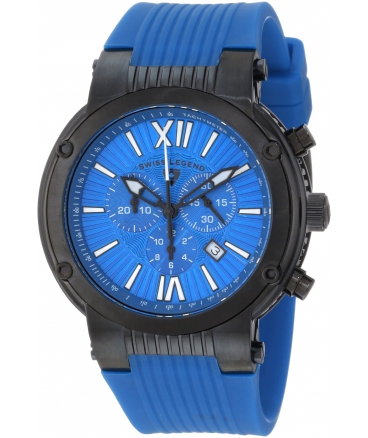 Men's Legato Cirque Chronograph Blue Textured Dial Blue Silicone Watch