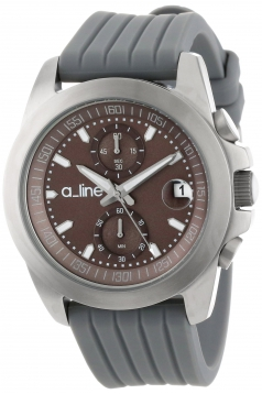 a_line Women's 80010-014-GY Aroha Chronograph Silver Grey Dial Grey Silicone Watch