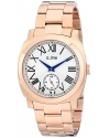 Men's Pyar Silver Textured Dial Rose Gold Ion-Plated Stainless Steel Watch