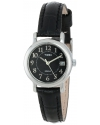 "Women's ""Elevated Classics"" Black Leather Strap Watch"