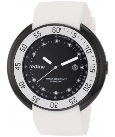 red line Men's 50069-BB-01-WHT Driver Black Dial White Silicone Watch