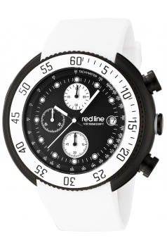red line Men's 50038-BB-01-WHT Driver Chronograph Black Dial White Silicone Watch