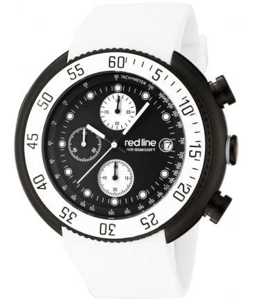 Men's Driver Chronograph Black Dial White Silicone Watch