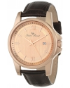 Men's Breithorn Rose Tone Textured Dial Brown Leather Watch