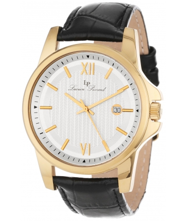 Lucien Piccard Men's 10048-YG-02S Breithorn Silver Textured Dial Black Leather Watch
