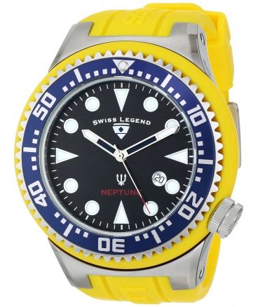 Men's Neptune Collection Stainless Steel Yellow Rubber Watch