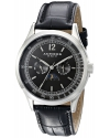 Men's Retro Multi-Function Stainless Steel Black Leather Strap Watch