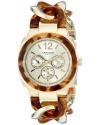 Women's Ultimate Multi-Function Gold-Tone and Tortoise Pillow-Cut Twist Chain Bracelet Watch