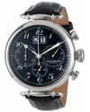 Men's Retro Chronograph Stainless Steel Black Dial Black Leather Strap Watch