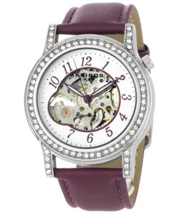 Akribos XXIV Women's AKR475PU Bravura Collection Skeleton Automatic Watch