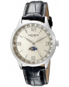 Men's Retro Swiss Champagne Dial Stainless Steel Black Leather Strap Watch