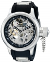 Men's Russian Diver Stainless Steel and Black Polyurethane Mechanical Watch with Skeleton Window