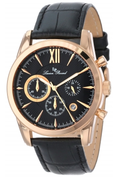 Lucien Piccard Men's LP-12356-RG-01 Mulhacen Chronograph Black Textured Dial Black Leather Watch