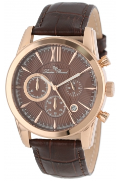 Lucien Piccard Men's LP-12356-RG-04 Mulhacen Chronograph Brown Textured Dial Brown Leather Watch