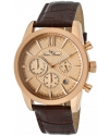 Men's Mulhacen Chronograph Rose Gold Tone Textured Dial Brown Leather Watch