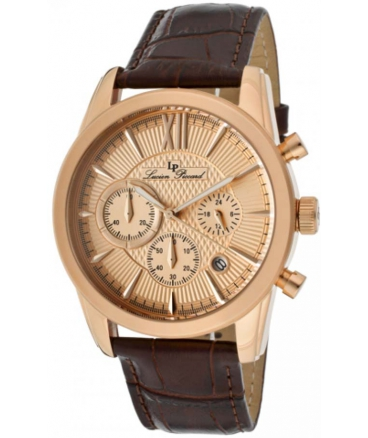 Lucien Piccard Men's 12356-RG-09 Mulhacen Chronograph Rose Gold Tone Textured Dial Brown Leather Watch