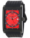 Men's Limousine Red Textured Dial Black Silicone Watch