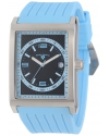 Men's Limousine Black Textured Dial Light Blue Silicone Watch