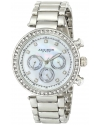 Women's Lady Diamond Quartz Multifunction Crystal Mother-of-Pearl Silver-tone Bracelet Watch