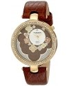 Women's Lady Diamond Flower Dial Swiss Quartz Leather Strap Watch