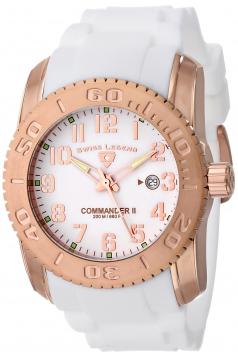 Men's Commander II Analog Display Swiss Quartz White Watch