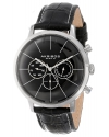Men's Ultimate Swiss Multifunction Silver-tone Stainless Steel Black Leather Strap Watch