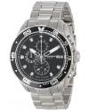 Men's Grandiose Chronograph Black Dial Silver-tone Stainless Steel Bracelet Watch