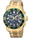 Mens Pro Diver Scuba Swiss Chronograph Black Dial 18k Gold Plated Watch