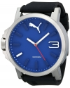 Men's Ultrasize 50 Silver Blue Analog Display Japanese Quartz Black Watch