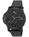 Men's Black Silicone Analog Quartz Watch with Black Dial