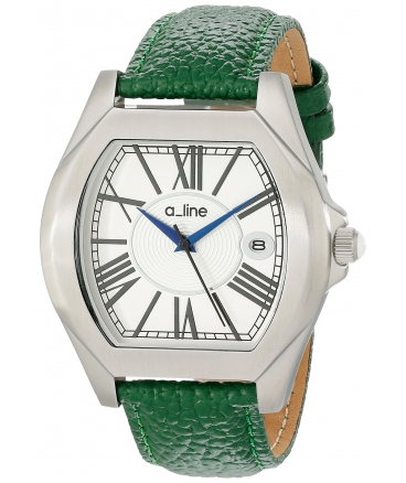 Women's AL-80008-02-D-GN Adore Silver Dial Green Leather Watch