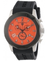 Men's Monte Carlo Chronograph Orange Textured Dial Black Silicone Watch